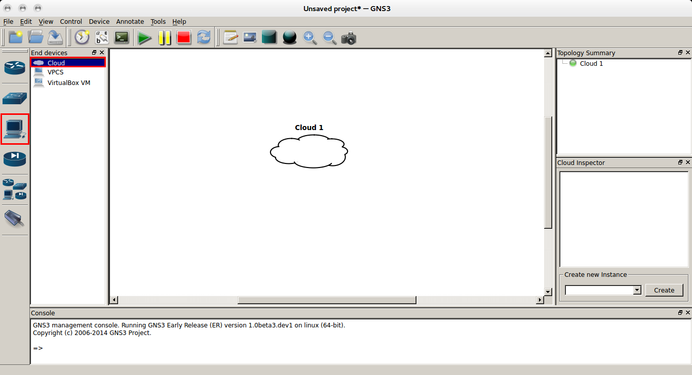 how to use cloud in gns3